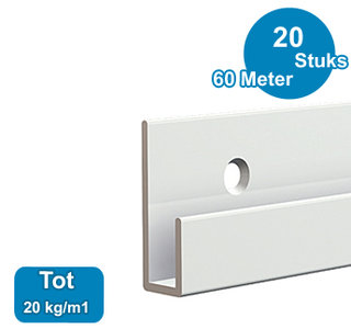 CLASSIC RAIL, WIT, 300 cm, 20 kg /m1, per 20 stuks 9.4358