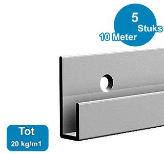 CLASSIC RAIL, ALU ANOD, 200 cm, 20 kg /m1, per 5 stuks 9.4305