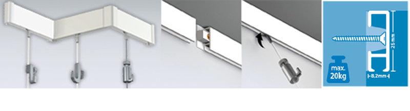 Click rail schilderij ophangsysteem, wandsysteem
