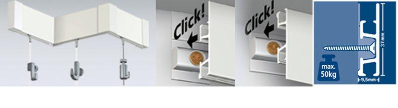 Click rail pro, schilderij ophangsysteem, wandsysteem