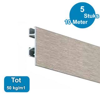 CLICK RAIL PRO, ALU GEBORSTELD, 200cm, max. 50kg, per 5 stuks 05.05320