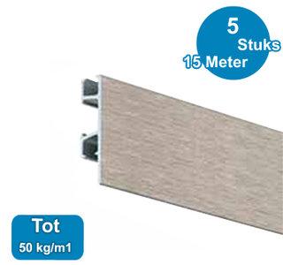 CLICK RAIL PRO, ALU GEBORSTELD, 300cm, max. 50kg, per 5 stuks 05.05330