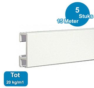 CLICK RAIL, WIT, 300 cm, 20 kg/m1, per 5 stuks 9.4304