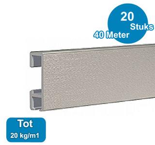 CLICK RAIL, ALU GEBORSTELD, 200 cm, 20 kg/m1, per 20 stuks 9.4340