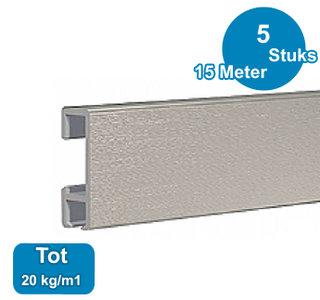 CLICK RAIL, ALU GEBORSTELD, 300 cm, 20 kg/m1, per 5 stuks 9.4343