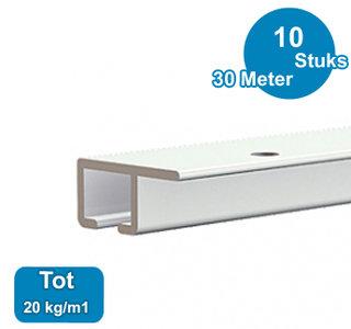 TOP RAIL, WIT, 300cm, max.  20kg /m1, per 10 stuks 9.4327