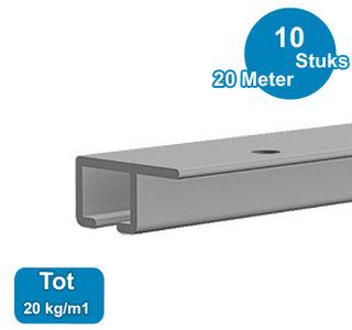 TOP RAIL, ALU ANOD, 200cm, max. 20 kg/m1, per 10 stuks 9.4313
