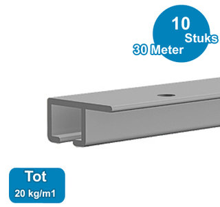 TOP RAIL, ALU ANOD, 300cm, max. 20kg/m1,  per 10 stuks 9.4314
