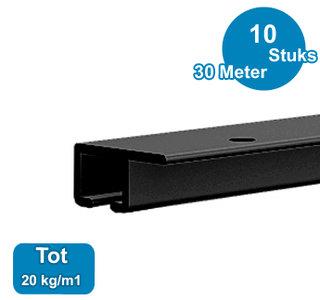 TOP RAIL, ZWART ANOD, 300cm, max. 20 kg/m1, per 10 stuks 9.4324