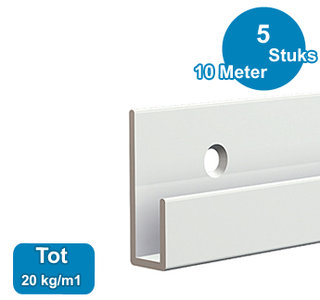CLASSIC RAIL, WIT, 200 cm, 20 kg /m1, per 5 stuks 9.4307