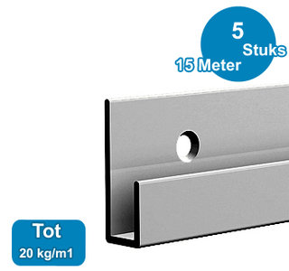 CLASSIC RAIL, ALU ANOD, 300 cm, 20 kg /m1, per 5 stuks 9.4306