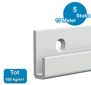 CLASSIC+ RAIL, WIT, 300 cm, max. 100 kg, per 5 stuks 9.4319