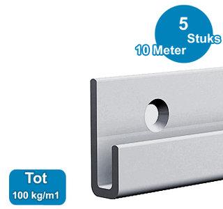 classic+ rail , alu, 200 cm, max. 100 kg, per 5 stuks 9.4320