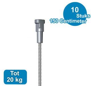 STAALDRAAD + TWSTER, 1,8mm, 150 cm, 20 kg, per 10 stuks 09.33150