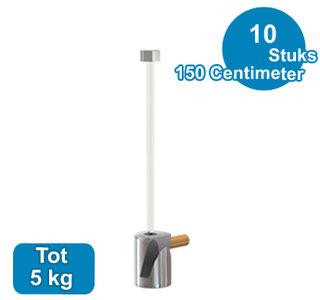 SET TWISTER 150cm + OPHANGHAAK ROND MESSING, max. 5kg per 10 stuks 9.6671