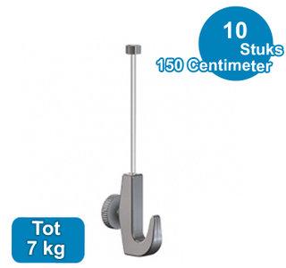 SET TWISTER 2 mm 150cm + OPHANGHAAK ZWAAR, max. 7kg per 10 stuks 9.6672