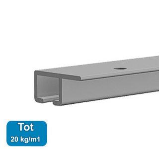 top rail, alu anod, 200cm, max. 20 kg/m, per stuk 9.4313AA