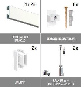 all-in-one kit 2 m Click Rail wit RAL 9010 + Twister 2 mm perlon 150 cm + haak 15 kg