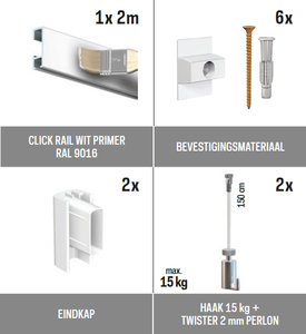 all-in-one kit 2 m Click Rail wit primer RAL 9016 + Twister 2 mm perlon 150 cm + haak 15 kg