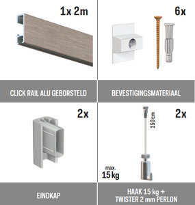 all-in-one kit 2 m Click Rail alu geborsteld + Twister 2 mm perlon 150 cm + haak 15 kg