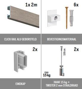 all-in-one kit 2 m Click Rail alu geborsteld + Twister 2 mm staaldraad 150 cm + haak 15 kg