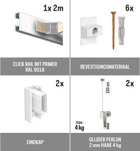 all-in-one kit 2 m Click Rail wit primer + glijder 2 mm perlon 150 cm + mini haak 4 kg