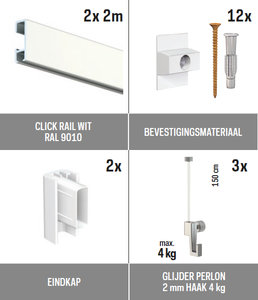all-in-one kit 4 m Click Rail wit RAL 9010 + glijder 2 mm perlon 150 cm + mini haak 4 kg