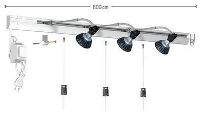 Combi Rail Pro Light LED wit RAL9010 complete set 600 cm